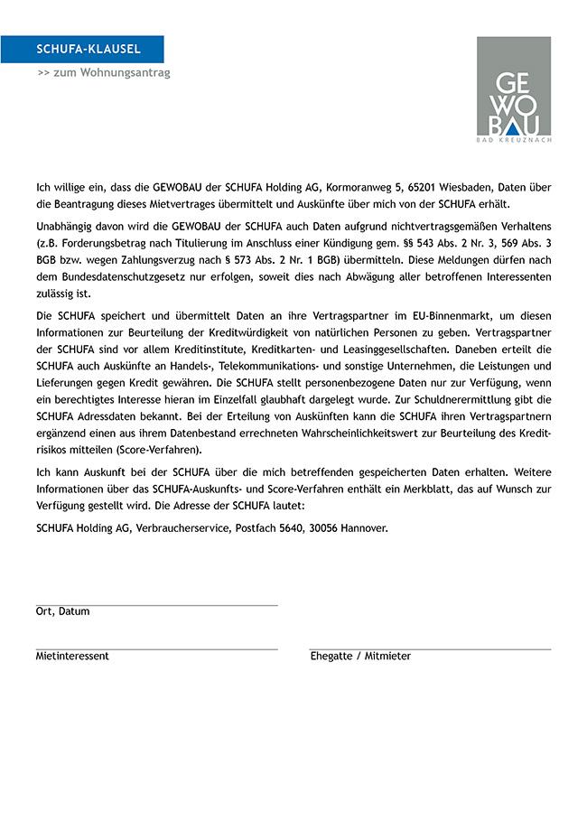 Gewobau Schufaklausel Mietbewerber